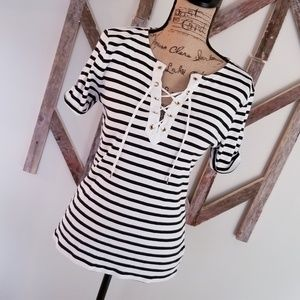 Ralph Lauren striped blouse with gold accents